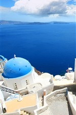 Preview iPhone wallpaper Greece, Santorini, houses, top view, blue sea
