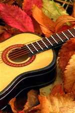 Preview iPhone wallpaper Guitar, leaves, autumn