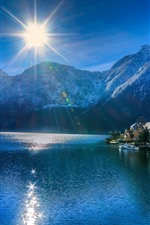 Preview iPhone wallpaper Hallstatt, Austria, lake, village, mountains, sun rays, glare