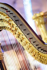 Preview iPhone wallpaper Harp, music, strings