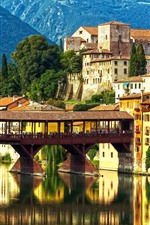 Preview iPhone wallpaper Italy, Veneto, Alps, city, river, mountains, bridge