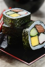 Preview iPhone wallpaper Japanese cuisine, sushi, sticks