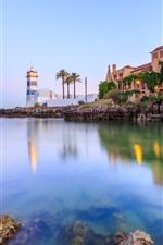 Lighthouse, house, sea, palm trees