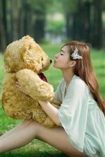 Long hair Asian girl, teddy, toy bear, grass, kiss