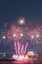 Macau, night, city, fireworks