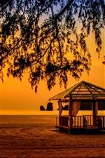 Preview iPhone wallpaper Malaysia, Andaman Sea, Langkawi, sea, tree, sunset, silhouette