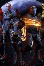 Preview iPhone wallpaper Mass Effect, warrior, planet
