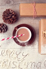 Preview iPhone wallpaper Merry Christmas, gift, powder, coffee, deer