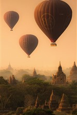 Preview iPhone wallpaper Myanmar, pagoda, temples, hot air balloon, fog