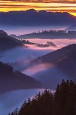 Nature landscape, mountains, fog, morning, sunrise