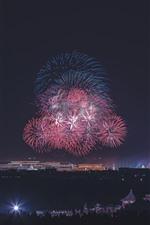 Noite, cidade, fogos de artifício, Pequim, China