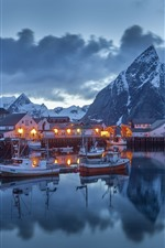 Preview iPhone wallpaper Norway, pier, boats, houses, mountains, snow, winter, night