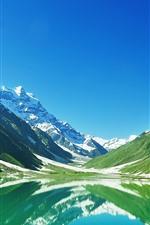 Pakistan, lake, mountains, snow, water reflection