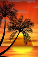 Preview iPhone wallpaper Palm trees, birds, sunset, vector picture