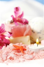 Preview iPhone wallpaper Pink lilies, salt, candle, starfish