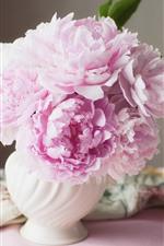Preview iPhone wallpaper Pink peonies, vase, silk