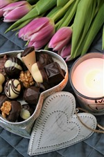 Preview iPhone wallpaper Pink tulips, chocolate, love heart, candle, romantic