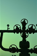 Pipes, valves, factory, silhouette, sky, dusk