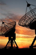 Radar, sunset, clouds, silhouette