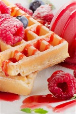 Preview iPhone wallpaper Raspberry, waffles, ice cream, dessert