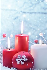 Preview iPhone wallpaper Red and white candles, flame, snow, Christmas balls