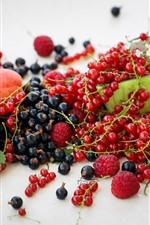 Aperçu iPhone fond d'écranGroseilles rouges, framboises, pêches, fruits