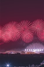 iPhone壁紙のプレビュー 赤い花火、夜、北京、中国、2019