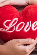 Preview iPhone wallpaper Red love heart, pillow, hands