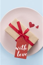 Preview iPhone wallpaper Red roses, love heart, gift, romantic