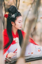 Preview iPhone wallpaper Retro style Chinese girl play pipa, trees