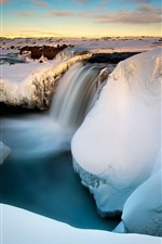 Preview iPhone wallpaper Snow, waterfall, gorge, creek, winter