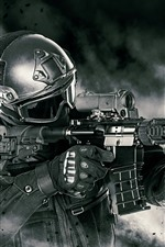 Preview iPhone wallpaper Soldier, armament, assault rifle