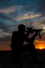 Preview iPhone wallpaper Soldier, silhouette, weapon, sunset