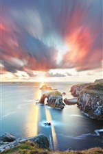 Preview iPhone wallpaper South West England, Cornwall, sea, arch, clouds, sunset