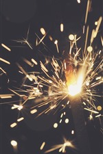 Sparks, fire, night
