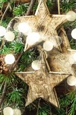 Estrelas, círculos de luz, galhos, Natal