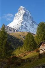 iPhone обои Швейцария, Церматт, Альпы, гора, деревья, дом
