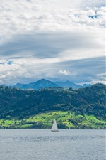 Preview iPhone wallpaper Switzerland, river, sailboat, green, white clouds, blue sky