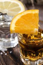 Tea, lemon slice, drinks