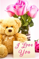 Preview iPhone wallpaper Teddy, pink roses, I love you