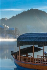 Preview iPhone wallpaper Town, lake, boat, houses, mountains, fog, morning