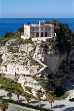 Preview iPhone wallpaper Tropea, palace, mountain, sea, palm trees