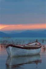 Preview iPhone wallpaper Turkey, Lake Beysehir, boat, mountains, sunset