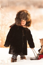 Preview iPhone wallpaper Two childs, cat, snow, winter