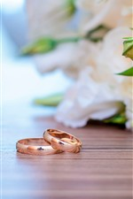 Preview iPhone wallpaper Two rings, light pink roses, romantic