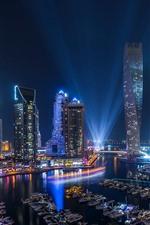Preview iPhone wallpaper UAE, Dubai, night, skyscrapers, lights, boats, river