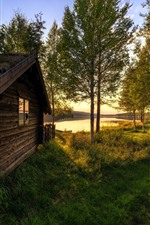 Preview iPhone wallpaper Vestby, Hedmark County, Norway, house, trees, river, sun rays