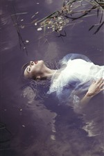 Preview iPhone wallpaper White skirt girl sleep in water, pond