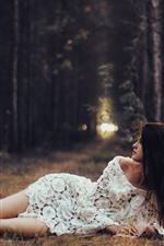 White skirt girl, umbrella, trees, pose