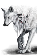 Preview iPhone wallpaper White wolf, art picture